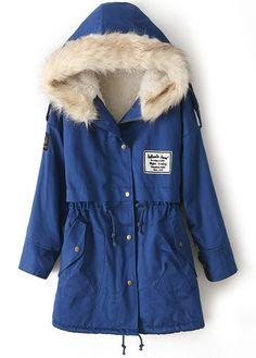 Royal Blue Fur Hooded Zipper Embellished Fleece Inside Military Coat US$55.50