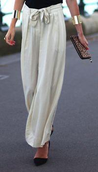 Flowy pants- fashion forward, but wear carefully , love these gold cuffs <3