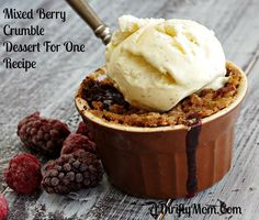 Mixed Berry Crumble, Desserts For One Recipes - 1/2 cup mixed frozen berries; 2 teaspoon sugar; 1 teaspoon cornstarch; 1 tablespoon salted butter, room temp.; 2 tablespoons all-purpose flour; 1 tablespoon brown sugar; 1/2 teaspoon ground cinnamon