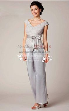 V Neck Mother Of The Bride Pant Suit Gray Satin With Lace Suits