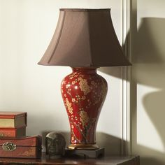 Tall chinese table lamp in red with gold jasmine blossom design and table lamp in chinese red with gold jasmine blossom design aloadofball Image collections