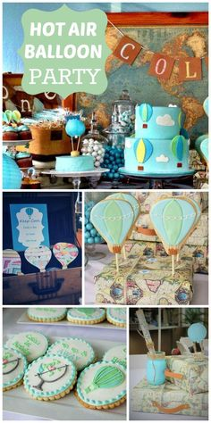 A vintage Hot Air Balloon boy birthday party with a map backdrop and awesome cookies and cake!  See more party planning ideas at CatchMyParty.com!