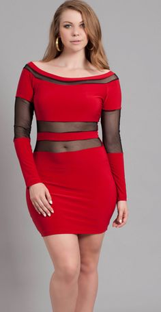 Red mini dress with back cut out black mesh sides | Red Hot ...