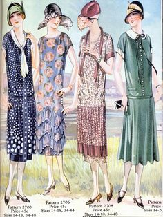 An overview of women's jazz era fashion 1920 Style, Style Année 20, Flapper Style, Vintage Outfits, 1920s Outfits, Vintage Clothing, Vintage Dresses, Vintage Fashion, Victorian Fashion