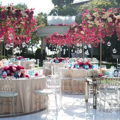 Wedding Reception Mirrored tables, Lucite Chiavari chairs, and tabletop canopies of bougainvillea, hydrangea, and roses - You voted. We planned it! Get a behind-the-scenes look at Valentina and Eric's global-chic celebration. Wedding Table Decorations, Wedding Centerpieces, Event Planning Tips, Wedding Planning, Wedding Events, Wedding Day, Wedding Photos, Tent Wedding, Wedding Receptions