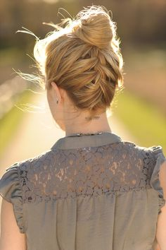 Upside Down French Braided Bun (with tutorial video!). I really like this top knot bun version
