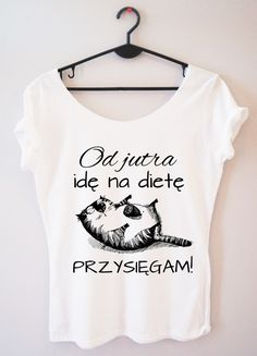 Time For Fashion Idę na dietę / t-shirt biały Funny Quotes, T Shirts For Women, Aga, Crop Tops, Humor, Casual, Clothes, School, Fashion
