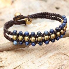 Lapis Lazuli and Brass Wristband Bracelet - Blue Joy | NOVICA