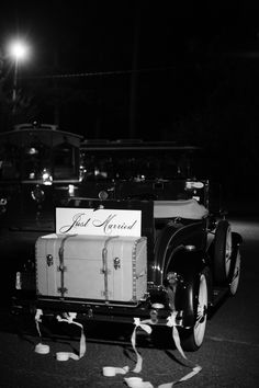Vintage Getaway Car. Image by Ashley Seawell Photography. Floral and Event Design by Greg Boulus Events. Augusta, GA.