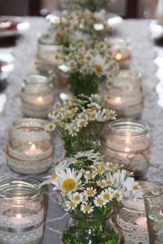 Hottest 7 Spring Wedding Flowers to Rock Your Big Day--baby breath and daisy wedding centerpieces Wedding Table, Diy Wedding, Wedding Reception, Wedding Flowers, Dream Wedding, Diy Flowers, Wedding Ideas, Reception Gown, Simple Flowers