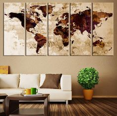 Canvas Art Print - Sephia Watercolor World Map on old Wall -  Large Wall Art Wood World Map Art, Extra Large World Map