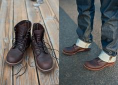 The Red Wing Boots Iron Ranger in Brown are perfect with cuffed jeans - find this pair and other Redwing shoes @ http://bootsjeansandleathers.com/