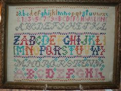 Contemporary and sweet Embroidery Sampler, Vintage Embroidery, Cross Stitch Love, Antique Frames, Alphabet, Cross Stitches, Antiques, Classic, Contemporary