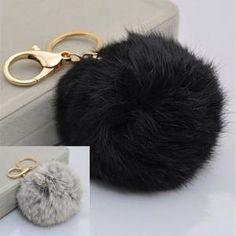 Offre spéciale 2 kit Porte-clé Noir Gris sac voiture mignon Bijoux Boule Pompon Pendentif Accessoire fourrure
