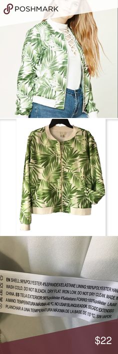 Forever 21 Bomber jacket Lightweight with tropical leaf print.  White with green shades . Looks amazing with jeans, shorts, skirts even maxi dresses. Very versatile spring piece!  Pockets. Forever 21 Jackets & Coats