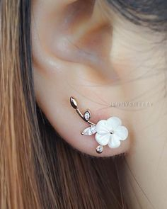 CZ ear jacket ear cuff jacket gold ear jacket by JennySweety Cute Earrings, Bridal Earrings, Flower Earrings, Beautiful Earrings, Wedding Jewelry, Pearl Earrings, Ear Jewelry, Cute Jewelry, Jewelry Accessories