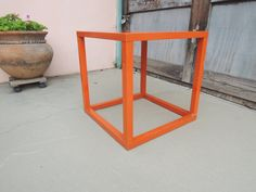Retro Modern Orange Square Side or End Table Los Angeles by HouseCandyLA, $75.00
