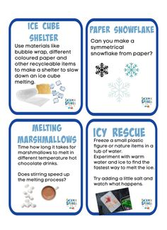 Collection of easy winter STEM Challenges for kids. Melt marshmallows in hot chocolate, make a symmetrical snowflake an ice cube shelter and more Biology For Kids, Chemistry For Kids, Science For Kids, Science Worksheets, Science Activities, Ice Cube Melting, Simple Circuit, Easy Science Experiments, Stem Challenges