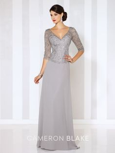 Cameron Blake - 116656 - Chiffon A-line gown with hand-beaded and embroidered illusion three-quarter length sleeves, beaded and embroidered illusion front and back V-necklines and sweetheart bodice, sweep train.  Sizes: 4 – 20, 16W – 26W  Colors: Gray, Navy Blue