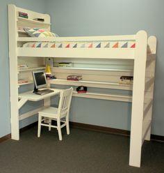 Loft Bed Bunk Bed All-In-One Sleep & Study. Eco-friendly, unfinished wood. ready-to assemble kits & DIY plans. made in USA 866-739-2331