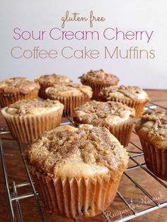 Gluten Free Sour Cream Cherry Coffee Cake Muffins ... with a delicious crumbly streusel topping, perfect for a morning treat, brunch or holiday celebration. | Recipes to Nourish