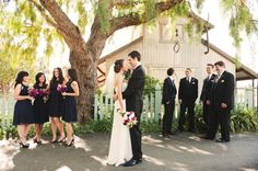 Pink & Navy Garden Wedding from Heidi Ryder Photography. I love the way the photo is set up! And the bridesmaids dresses, and the huge tree, and the lighting.