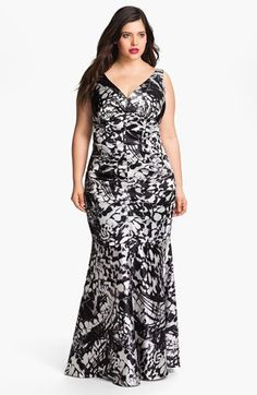 Xscape Ruched Print Gown (Plus Size) available at #Nordstrom