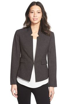 Lighter color.  Free shipping and returns on Ellen Tracy Reverse Lapel Blazer at Nordstrom.com. A flecked suiting fabrication enhances the menswear-inspired polish of a tailored jacket detailed with face-framing notched reverse lapels. Flap-welt pockets accentuate the waist-nipped styling.