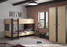 Lit superposé 2 x 90 x 200 cm DUPLEX pas cher imitation châtaignier et noir - 😍Découvrir ici - #lit90x200cm #LitEnfant #BUT #ChambreEnfant #meubles #Litsuperpose Duplex, Oui, Bunk Beds, Dimensions, Divider, Furniture, Home Decor, Products, Bunk Bed