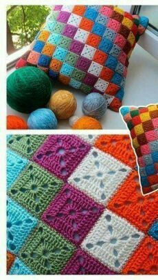 Crochet Pillow Patterns Free, Granny Square Crochet Pattern, Crochet Stitches Patterns, Crochet Squares, Crochet Motif, Knitting Patterns, Crochet Lace, Free Crochet, Crochet Fox