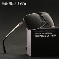 ee1badb6fe BANNED 1976 Brand Designer Rectangle Rectangle Sunglass Mens Driving Sun  GlassesClassic design Fashion Polarized Sunglasses