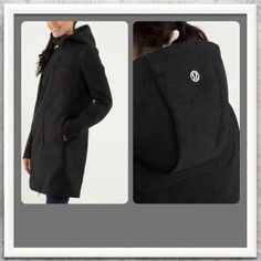 Lululemon black city softshell rain jacket coat 6 Excellent condition. No tears, rips, stains or flaws. Black tweed fitted style in size 6. Fleece lined for cozy comfort in windy, rainy and cold conditions. Super high quality and retailed for $268. Rare color and size - hard to find! lululemon athletica Jackets & Coats