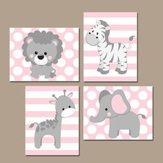 Baby Girl Nursery Wall Art Pink Gray Nursery Artwork