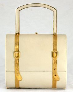 Judith Leiber Vintage Ivory Leather Handbag