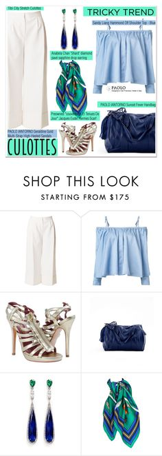 """""""Tricky Trend: Chic Culottes and PaoloShoes"""" by spenderellastyle ❤ liked on Polyvore featuring TIBI, Sandy Liang, Anabela Chan, TrickyTrend and culottes"""