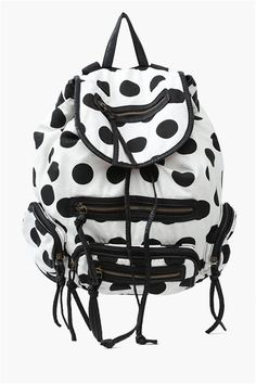 Polka Dot Back Pack ➨ http://necessaryclothing.hardpin.com/tracker/c.php?m=HardPin&u=type337&url=http://www.necessaryclothing.com/accessories/Accessories-Handbags/NCC11017-Polka-Dot-Back-Pack-in-Black-White?via=HardPin&u=type337