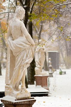 Marble Sculpture of the Summer Gardens on a Snowy Day