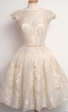 Cap Sleeves Light Champagne Lace Ba