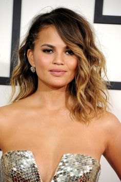 Chrissy Teigen's bedhead waves are great for date night! #valentinesday