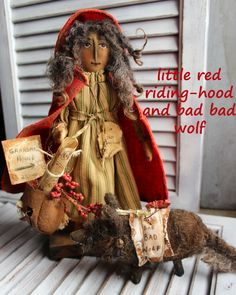 Little Red Riding Hood and bad bad wolf primitive folk art doll  by JoAnn Palmer Hootnhollarprims www.facebook.com/HootnhollarprimsByJoannPalmer
