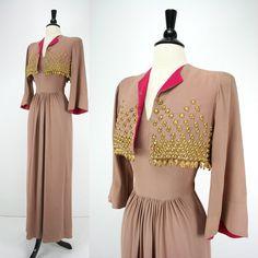 Crying here...want so bad!  Vintage 40s Dress & Bolero Jacket 1941 New York Creation Label James Rothenberg Original Montaldos Nude Pink Gold Metal 1940s Dresses Noir