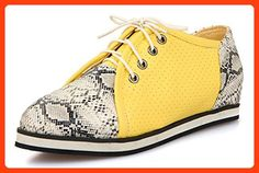 e22ec86025e1 Sfnld Women s Casual Round Toe Low Cut Snake Pattern Lace Up Flat Sneakers  Yellow 4 B