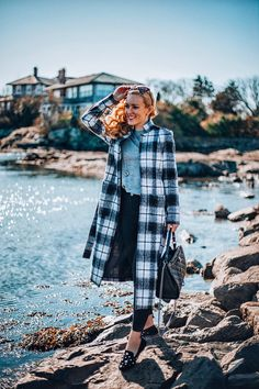 Three Monochrome Looks for Fall & Winter:  White, Pink & Black in Newport, Rhode Island . Fall Fashion - black and white outfit - monochrome fashion - black birdies - starlet birdies - checkered coat- fall - wool coat - Donna Zhong coat - topshop jeans - skinny jeans - fall style - fall vibes - meghan markle style - Birdies slippers -joni jeans- boston - boston blogger - fashion blog - pink outfit - cozy look - winter fashion - blogger style - (Mango, Seven, Birdies, Chanel Bag)