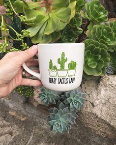 Suculentas Diy, Cactus Y Suculentas, Cactus Decor, Cacti And Succulents, Mug Shots, Coffee Break, Tea Time, Herbs, Green