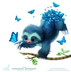 Daily Painting 1748 # Sloth Butts – Butterflies by Cryptid-Creations - Animales Tiernos