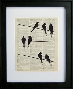 Bird silhouettes printed on a page from an antique dictionary Each print is on a page from an antique dictionary making for a very unique print, Animal Silhouette, Silhouette Art, Journal D'art, Newspaper Art, Book Page Art, Dictionary Art, Bird Art, Collage Art, Art Lessons