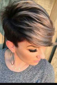 Short cut with dark roots n blonde