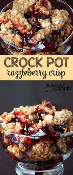 This Razzleberry Crisp comes out perfect every time! @recipescrock Simple Crock Pot Recipes, Crock Pot Breakfast Recipes, Diabetic Recipes Crockpot, Diabetic Dessert Recipes, Christmas Dessert Recipes, Simple Dessert Recipes, Slow Cooker Breakfast, Quick Dessert, Delicious Desserts