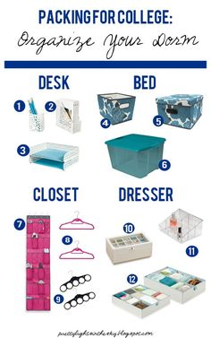 Packing for College: Organize Your Dorm | Pinterest Most Wanted. Ideas for my sis.