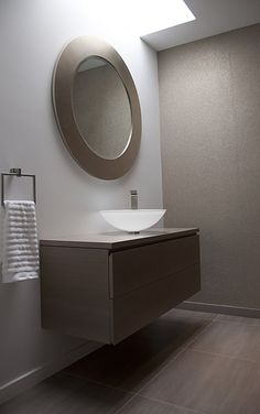 Modern Powder Room with Flush, European Cabinets, Majestic Mirror Contemporary Beveled Round Mirror, Skylight, Powder room Stone Tile Flooring, Modern Powder Rooms, Grey Floor Tiles, Bathroom Vanity Base, Powder Room Design, Floating Vanity, Cabinet Design, Sink Design, Floor Design